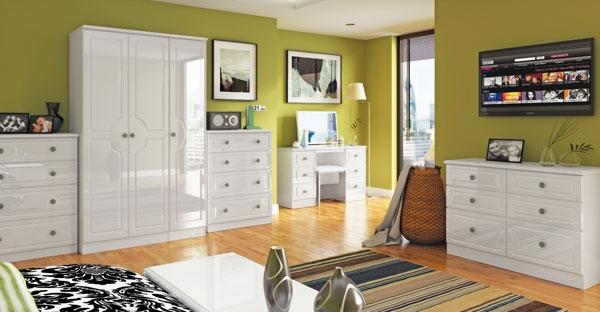 The Rcn Beverley Range Furnishings, White High Gloss Bedroom Furniture The Range